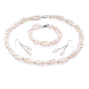 Baroque Pearl Jewellery Set Double Strand with Bridal Backdrop